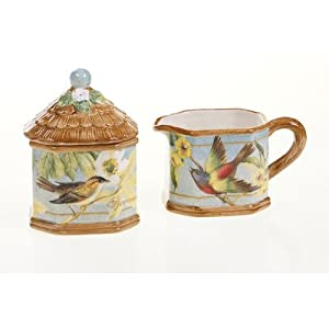 Certified International Botanical Birds Sugar and Creamer Set by Certified International