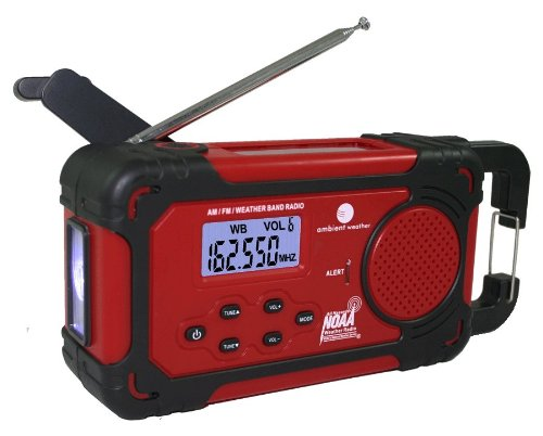 Ambient Weather WR-333 Emergency Solar Hand Crank Weather Alert Radio, Flashlight, Smart Phone Charger