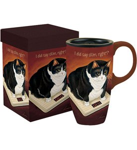 Ceramic Travel Coffee Mug - Fat Cat