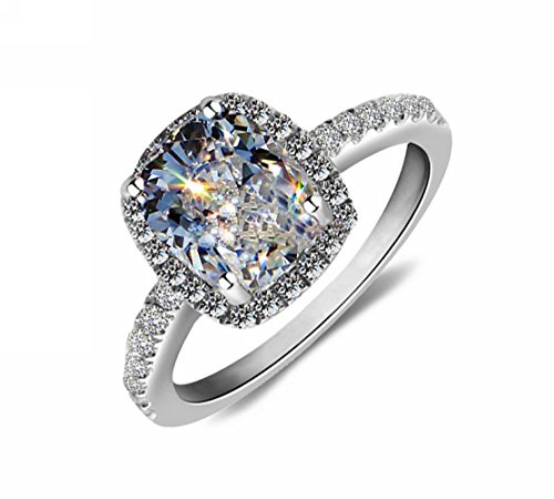 Lady 18k White Gold Gp AAA Zircon Swarovski Crystal Bridal Engagement Wedding Ring R24a (10)