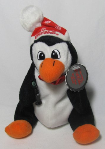 "Coca-Cola Penguin 6"" Plush Bean Bag in Snowflake Hat - 1"
