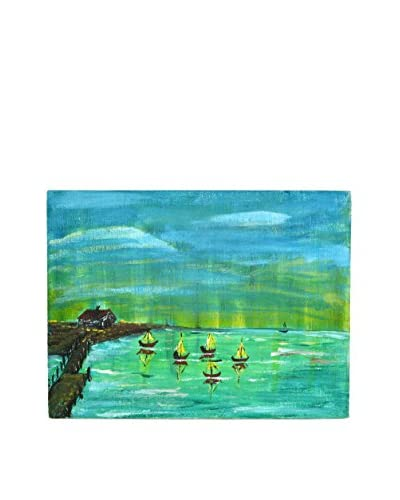Uptown Down Previously Owned Seascape Acrylic Painting on Canvas