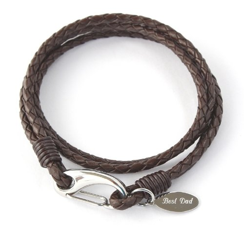Men's Personalised Brown Leather Bracelet, Free Engraving - The tag can be engraved both sides - Gift Boxed