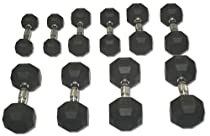 Rubber Coated Hex Dumbbell Set 5-25 lbs.