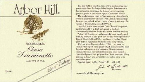 2011 Arbor Hill Grapery & Winery Classic Traminette 750 Ml