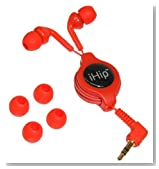 iHip IP-REP101-R Retractable Stereo Ear Buds - Red