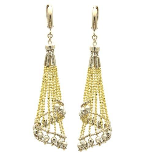 Sterling Silver Chain Earrings Skirt Drop Handmade Two Tone Silver Earrings