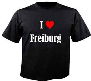 """T-Shirt """"I Love Freiburg"""" für Damen Herren und Kinder ... in der Farbe Schwarz"""