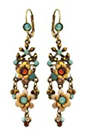 Michal Negrin Awesome Dangle Earrings Adorned with Hand Painted Flowers, Leaves Ornaments, Blue and Brown Swarovski Crystals; Victorian Style