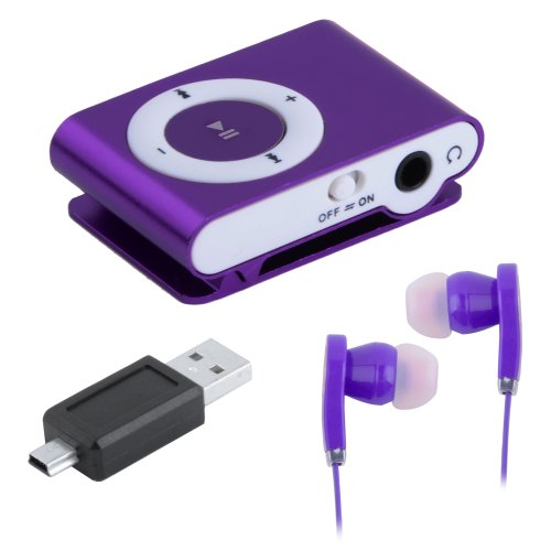 Mini Clip Metal Usb Mp3 Music Media Player With Micro Tf/Sd Card Slot Support 1-8Gb + Earphone Purple