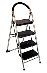 Truphe Heavy Duty Stainless Steel Ladder, Folding ladder in Chrome finish, 4 Steps ladder with 7 years warranty