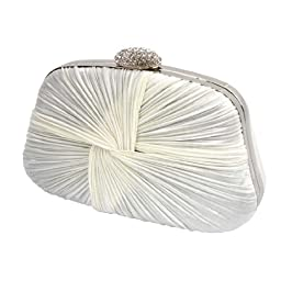 BMC Swirling Clinched White Satin Fabric Rhinestone Covered Locking Clasp Fashion Clutch Purse