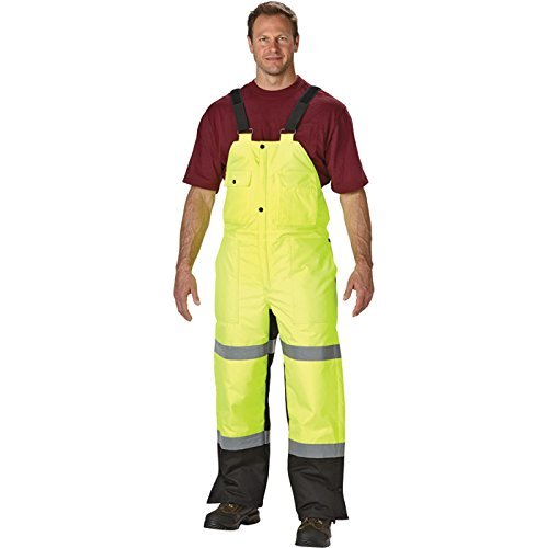 High-Visibility Insulated Bib Overall - Lime/Black