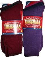 6 Pairs Ladies winter thermal socks. Dark colours