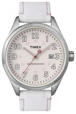 Timex Original Ladies Watch T2N350ZB with Pink Dial White Fabric Strap