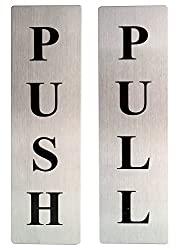 COMBO VALUE PACK!!! Self Adhesive Stainless Steel PUSH & PULL Metal Door Signage Board
