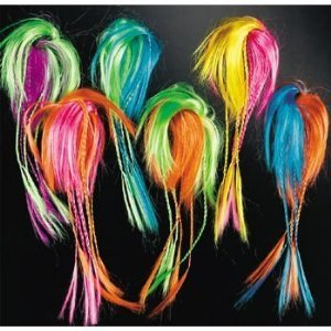 Halloween Witches, Indians, Hippy, Tropical Costume Accessory -- Two Tone Neon Hair Attachments 12 ct