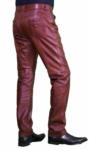 Mens Burgundy Red Luxury Leather Trousers (Waist 34