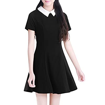 Allegra K Women Contrast Doll Collar Short Sleeves Flare Dress