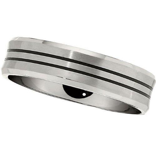 7.0mm Titanium Black Enamle Bevelled Band Size 8.5