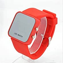 Fashion Cool Watch Silicone Jelly Mirror Face LED Sport Timer Wristwatch Red