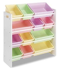 Whitmor Kids Storage Collection 6437-1523-DS 12 Bin Organizer Pastel