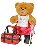 "Lacrosse Bear 18"" Jointed Sports Bear - Girl with Red & White Uniform/Pink Stick"