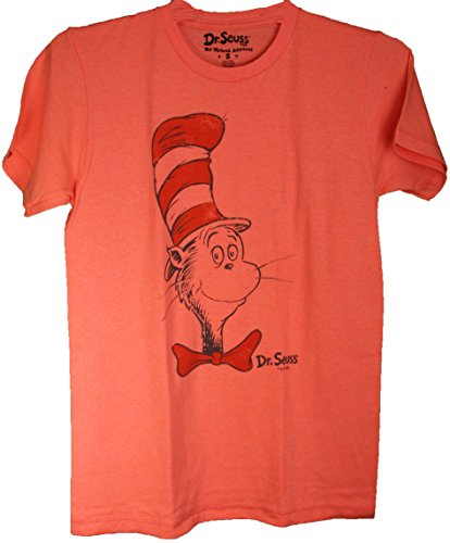 "Doctor Seuss Cat in the Hat ""Neon Big Face"" Adult Tee Shirt"