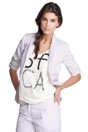 ESPRIT Collection Damen Blazer, gestreift C23040, Gr. 34 (XS), Weiß (coll.white/flame 122)