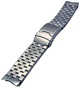 24mm Stainless Steel Replacement Watch Band With Curve Ends and Solid Links