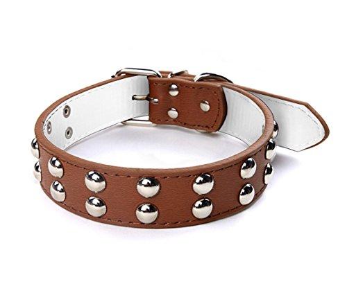 Collare in cuoio martellato con borchie tonde per cani taglia grande chiusura con fibbia regolabile. MWS (Cuoio)