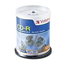 Verbatim CD-R Recordable Disc DISC,CDR,52X,100SPINDLE (Pack of3)