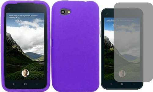 For HTC First Facebook Silicone Jelly Skin Cover Case Dark Purple + LCD Screen Protector