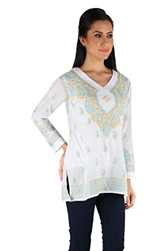 Indiankala4u Lucknowi Chikankari/Chikan Hand Embroidery Cotton Kurtis/Kurta/Top/Tunic