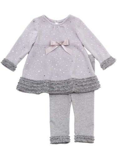 Newborn Or Infant Girls Silver Sparkle Knit Pant Set - Beautiful 12 Months