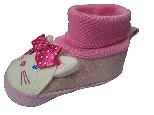 Rising Star Light Pink Cat Slippers Size 3-6 Months [3012]