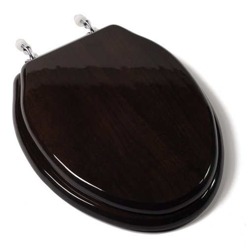 Comfort Seats C1B1E-18CH Designer Solid Wood Toilet Seat with PVD Chrome Hinges, Elongated, Dark Brown