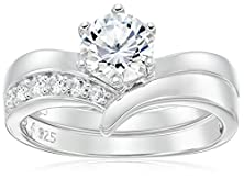 buy Platinum Plated Sterling Silver Cubic Zirconia Round Solitaire Ring With Chevron Band Bridal Set, Size 6