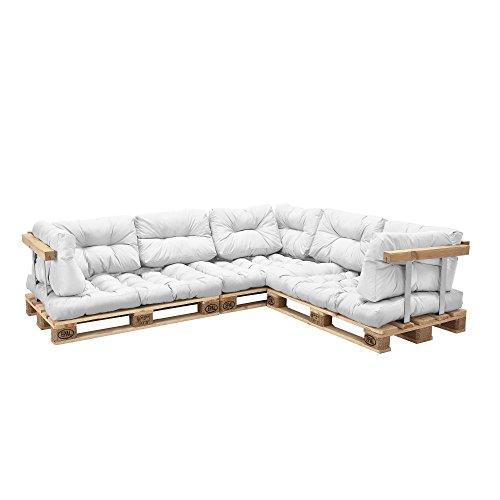 [en.casa] Euro Paletten-Sofa - DIY Möbel - Indoor Sofa mit...