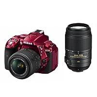 Nikon デジタル一眼レフカメラ D5300 ダブルズームキット レッド 2400万画素 3.2型液晶 D5300WZRD