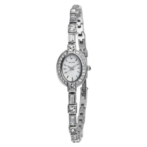 Bulova Women's Ladies Crystal Case 96T49 Silver Brass Quartz Watch with White Dial