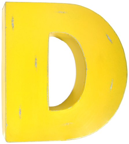 Found Object Sansarif 12-Inch Solid Letter Wall Hanging, Capital D, Yellow