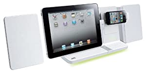 JVC CD Micro HiFi Speaker System with Dock for iPad, iPhone and iPod - White
