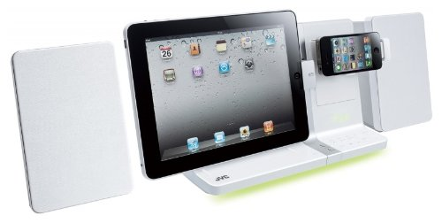 Review and Buying Guide of Cheap JVC CD Micro HiFi Speaker System with Dock for iPad, iPhone and iPod - White