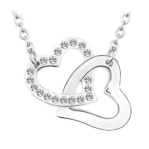 Le Premium® - Collana con ciondolo, cuori uniti, realizzato con cristalli trasparenti SWAROVSKI® ELEMENTS