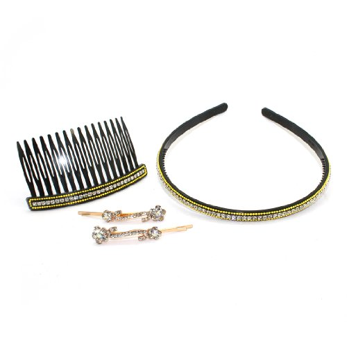 4 PIECE SET: Sparkling Diamante Bobby Pins, Hair Comb & Hairband