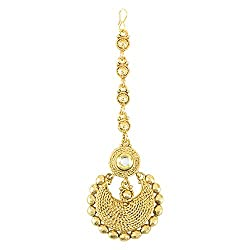 Pink Rose - Complement Collection Gold Kundan Alloy Maang Tika For Women