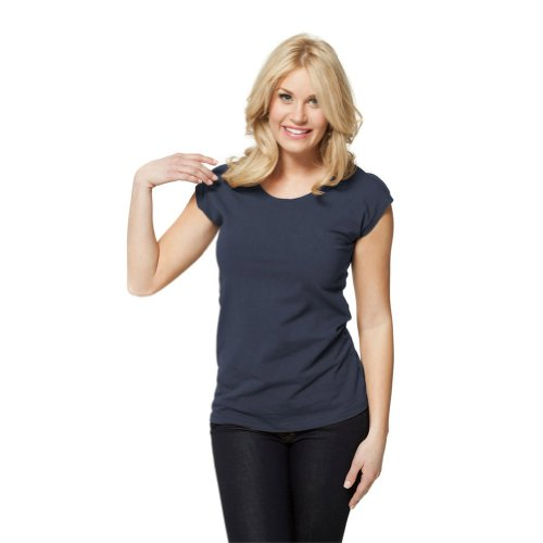 Modbod Modest Layering Scoop Neck Cap Sleeve Shirt - Extra Length (Large, Midnight) (Cap Sleeve T Shirts compare prices)