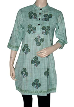 Boho Yoga Tunic Womens Clothing Khadi Kurta Blouse Size L: Clothing