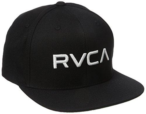 rvca-hombre-rvca-tela-cruzada-del-sombrero-del-snapback-o-s-black-white